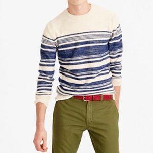 J. Crew cotton textured striped crewneck sweater